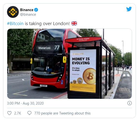 Binance Tweet UK launch freecoyn